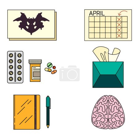 Psychotherapy objects icons