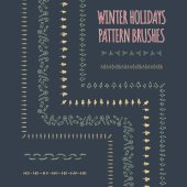 Set of vector pattern brushes winter holidays theme  With inner and outer corner tiles included in eps Borders and decorations for christmas cards invitations greetings posters  Hand drawn