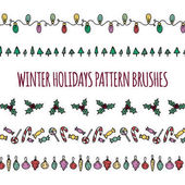 Set of vector pattern brushes winter holidays theme  Borders and decorations for christmas cards invitations greetings posters  Hand drawn doodles colorful design