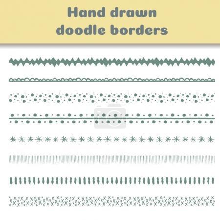Set of hand drawn borders