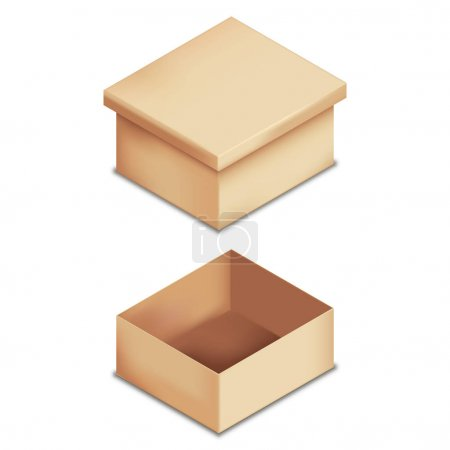 Set of realistic cardboard boxes