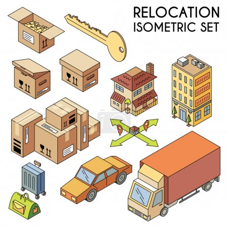 Relocation icons set