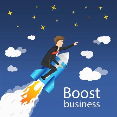 Illustration pour Flying Businessman Cartoon Graphic Design pour stimuler la croissance des entreprises et démarrer sur fond de ciel bleu . - image libre de droit