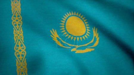 Flag of Kazakhstan gently waving in the wind. Kaza...