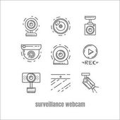 Collection of webcam CCTV and security camera vector icon