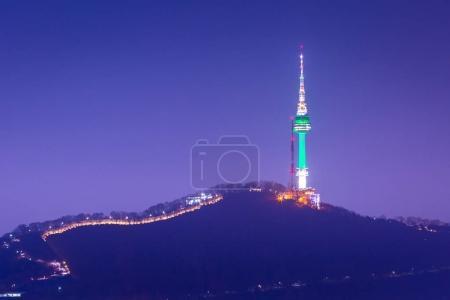 Photo for Seoul tower or namsan tower at night view, landmark of Korea. - Royalty Free Image
