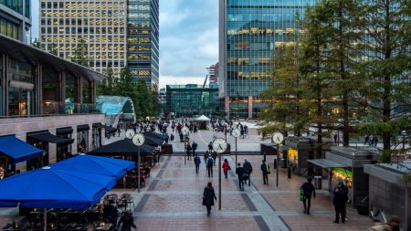 View of people rushing from work in the Docklands, financial centre in London