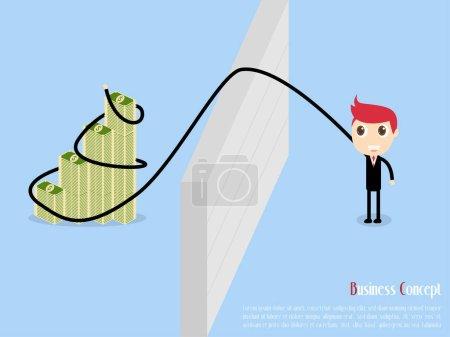 Businessman Catch Easy Money, vector illustration