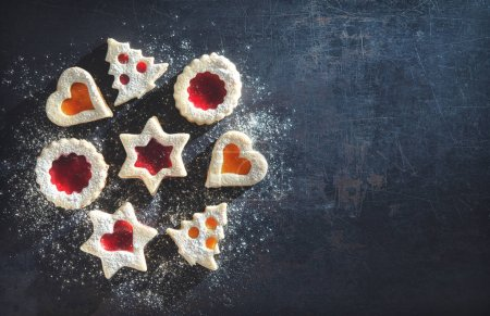 Colorful mixed Christmas cookies