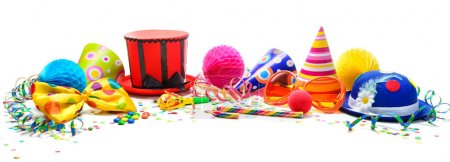 Colorful birthday or carnival background with party items isolat