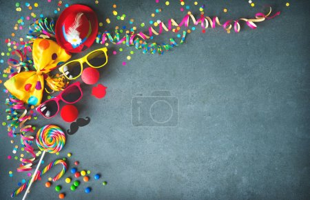Photo for Colorful birthday or carnival background with party items. Festivity concept - Royalty Free Image