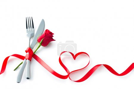 Valentine fork, knife, spoon, silverware with red ribbon heart s