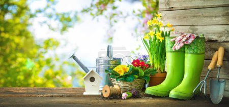 Photo for Gardening tools and spring flowers on the terrace in the garden - Royalty Free Image