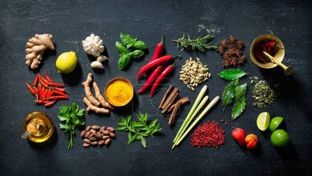 Photo pour Diverses herbes et épices colorées pour cuisiner sur fond sombre - image libre de droit