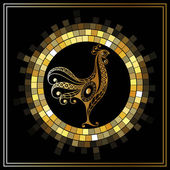 Graphic illustration of fire cock symbol of 2017 Suitable for invitation flyer sticker poster banner card label cover web Vector element for New Year's design
