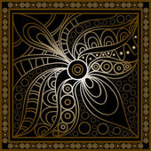 Vector abstract doodle pattern Hand drawn geometrical ornaments wavy stripes and fantasy leaves with flowerTextile gold vintage print