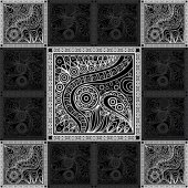 Vector abstract doodle pattern (texture background) Black grey and white hand drawn geometrical ornaments wavy stripes and fantasy leaves with flowerTextile patchwork vintage print