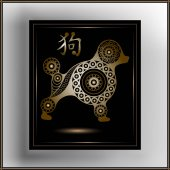 Decorative illustration with abstract dog 18