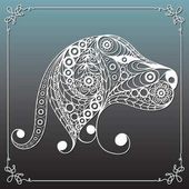 Graphic illustration with decorative dog 14