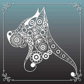 Graphic illustration with decorative dog 17