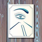 Graphic illustration with eyelash in the frame 13