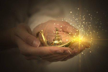 Lamp of aladin, a magic lamp of fulfillment of des...
