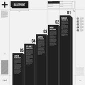 Vector chart template with five stages in draft style EPS10