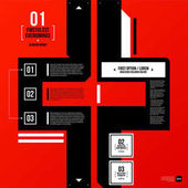 Modern corporate graphic design template with black elements on red background Useful for advertising marketing and web design