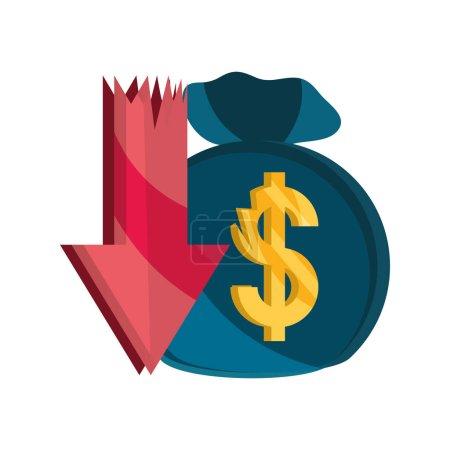 Illustration for Down arrow money bag stock market crash vector illustration isolated icon - Royalty Free Image