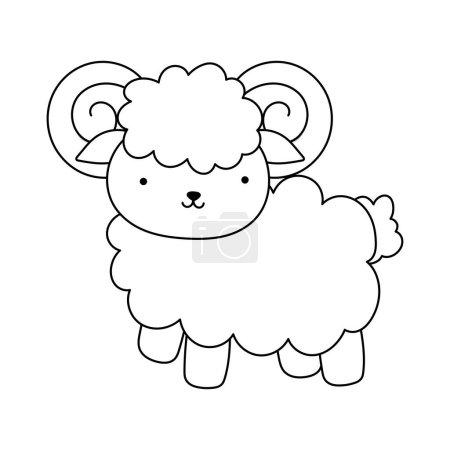 Illustration for Goat cartoon farm animal isolated icon on white background vector illustration line style - Royalty Free Image