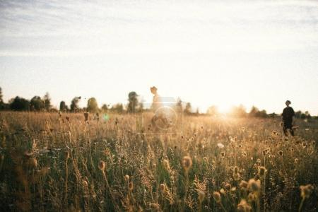 Unfocused stylish women walking in rural meadow