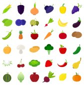 Set of different fruits berries and vegetables icons over white background vector illustration