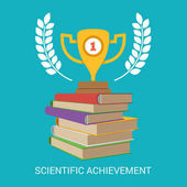 Pile of books and golden trophy cup on top vector illustration scientific achievement concept