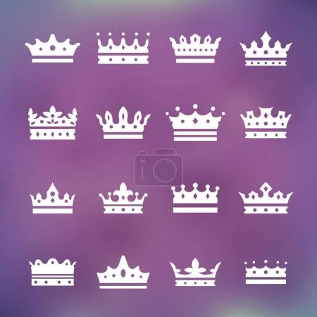 set of white crown icons