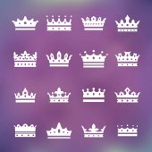 Set of white crown icons over purple background vector illustration