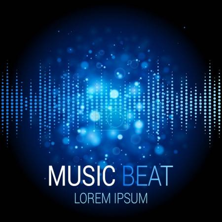 Illustration for Blue music beat illustration with bokeh lights. Sound wave pattern. Audio equalizer technology - Royalty Free Image