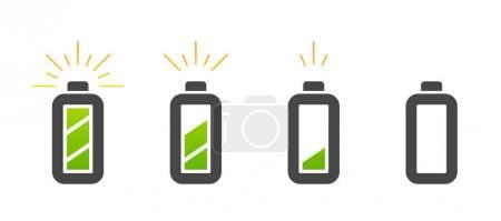 Illustration pour Jeu d'icônes de charge de batterie en conception plate sur fond blanc, illustration vectorielle - image libre de droit