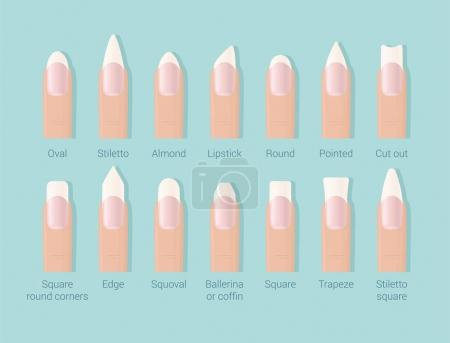 Different shapes of nails