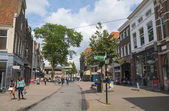 Typical Dutch shopping street in Zwolle