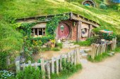 Front of a Hobbit house in New Zealand
