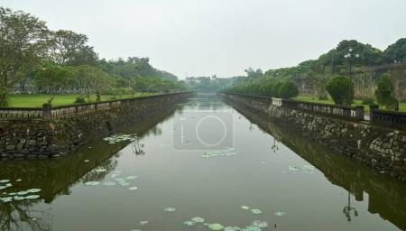 Water trench or moat in front of the entrance to the imperial city, vietnam.