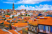 Beautiful view of the colorful old town of Porto