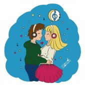 Love the guy and the girl embrace and listen to music under the moon