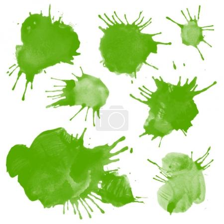 Set watercolor green blobs, isolated on white background. Shape design blank watercolor colored rounded shapes web buttons on white background. Divorces paint. Greenary