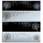 Set of horizontal black and grey banners with dandelions fluff