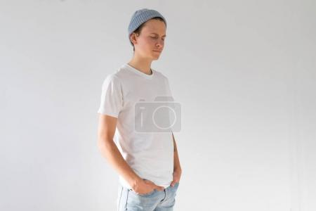 Young hipster man in white tshirt