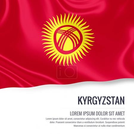 Kyrgyzstan flag. Silky flag of Kyrgyzstan waving on an isolated white background with the white text area for your advert message. 3D rendering.