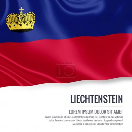 Liechtenstein flag. Silky flag of Liechtenstein waving on an isolated white background with the white text area for your advert message. 3D rendering.