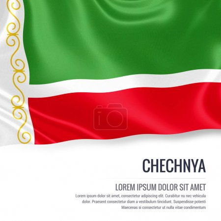 Chechnya flag. Silky flag of Chechnya waving on an isolated white background with the white text area for your advert message. 3D rendering.