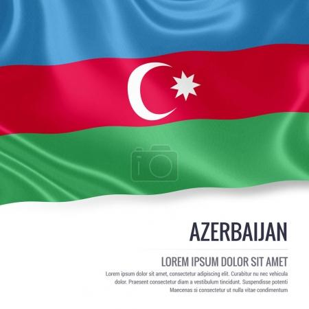 Azerbaijan flag. Silky flag of Azerbaijan waving on an isolated white background with the white text area for your advert message. 3D rendering.
